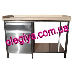 Stainless steel table with wooden top...