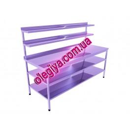 Стіл виробничий з двома нижніми і двома верхніми полицями.